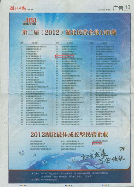 湖北民营企业百强出炉,程力集团榜上有名,获20
